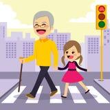 Girl Helps Grandfather Crosswalking Stock Photos