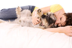 Girl with her adorable Schnauzer royalty free stock photography