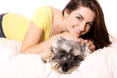 Girl with her adorable Schnauzer Stock Photos
