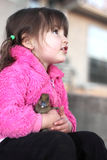 A Girl and Her Baby Duck Royalty Free Stock Photos