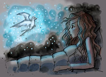 Girl in her bed with magical swallow beside Royalty Free Stock Image