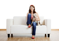 Girl with her best friend Stock Images