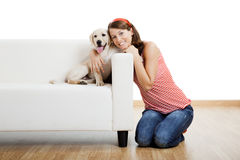 Girl with her best friend Stock Photo