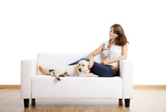 Girl with her best friend Royalty Free Stock Images