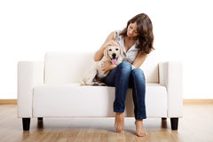Girl with her best friend Royalty Free Stock Photo