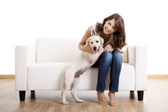 Girl with her best friend Stock Photos
