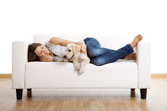 Girl with her best friend Royalty Free Stock Image