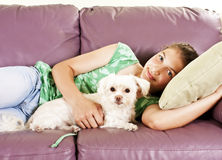 Girl with her best friend Stock Image