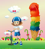 A girl and her bike in the candyland. Illustration of a girl and her bike in the candyland Stock Photography
