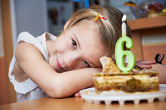Girl in her birthday with cak royalty free stock images
