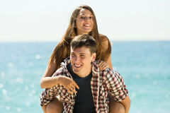 Girl and her boyfriend smiling Stock Photos