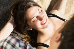 Girl and her boyfriend smiling Royalty Free Stock Image