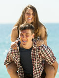 Girl and her boyfriend smiling Royalty Free Stock Photos