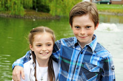 Girl and her brother Royalty Free Stock Photo