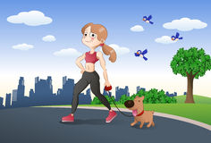 girl and her brown dog jogging together Stock Photo