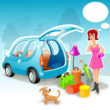 Girl and her car. Girl thinking about her baggage royalty free illustration