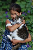 Girl with her cat Stock Photos