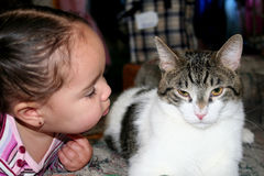 A girl and her cat. A toddler leaning over to kiss her cat A determined baby throwing a ball Stock Photography