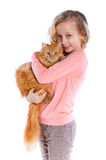 Girl with her cat Royalty Free Stock Image