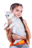 Girl with her cat Royalty Free Stock Images