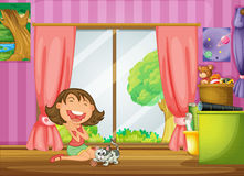 A girl and her cat. Illustration of a girl and her cat in her room Royalty Free Stock Photos
