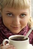 Girl with her coffee Royalty Free Stock Photography