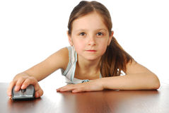 Girl with her computer mouse Stock Photography