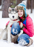 Girl with her cute dog Royalty Free Stock Photo