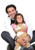 Girl and her dad over white Stock Photography