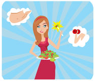 Girl and her diet plan. Vector Illustration Royalty Free Stock Image