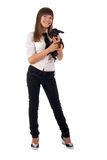 Girl And Her Dog. Royalty Free Stock Images