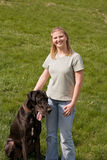 Girl With Her Dog. Pretty Girl With Her Great Dane Royalty Free Stock Photos