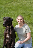 Girl With Her Dog. Pretty Girl With Her Great Dane Stock Photos