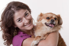 Girl with her dog . Royalty Free Stock Image