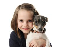 Girl and her dog. Portrait of a beautiful young girl snuggling with a cute terrier puppy dog, isolated on white in studio Royalty Free Stock Image