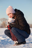Girl with her dog Royalty Free Stock Image