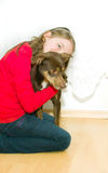 Girl and her dog. Stock Photos