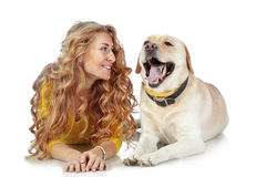 Girl with her dog. Portrait of happy girl with her dog isolated on white background Royalty Free Stock Photos