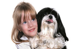Girl and her dog. A four year old girl with her dog Royalty Free Stock Photos