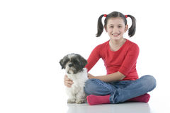 A girl and her dog Royalty Free Stock Image