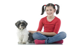 A girl and her dog Stock Image