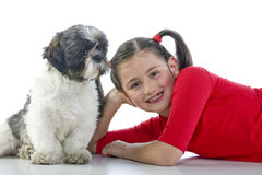 A girl and her dog Royalty Free Stock Photography