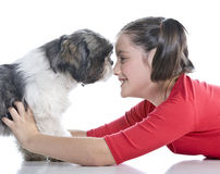 A girl and her dog Stock Photo