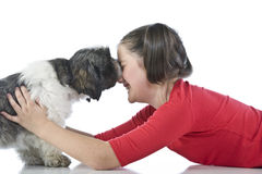 A girl and her dog Stock Photography