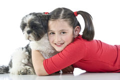 A girl and her dog Royalty Free Stock Photos