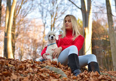 A girl with her dog Stock Photo