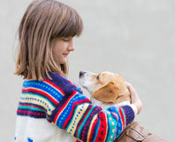 Girl and her dog Royalty Free Stock Photography