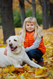 Girl with her dog labrador Royalty Free Stock Photography