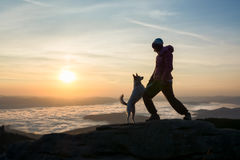 Girl and her dog playing royalty free stock photos