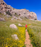 A girl with her dog on a summer path,cyprus 2 Stock Photography